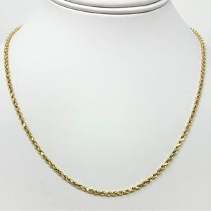"""Jewelry - 10k Yellow Gold Hollow 2mm Rope Chain Necklace 19"""""""